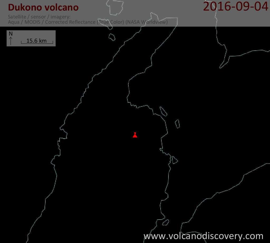 Satellite image of Dukono volcano on  4 Sep 2016