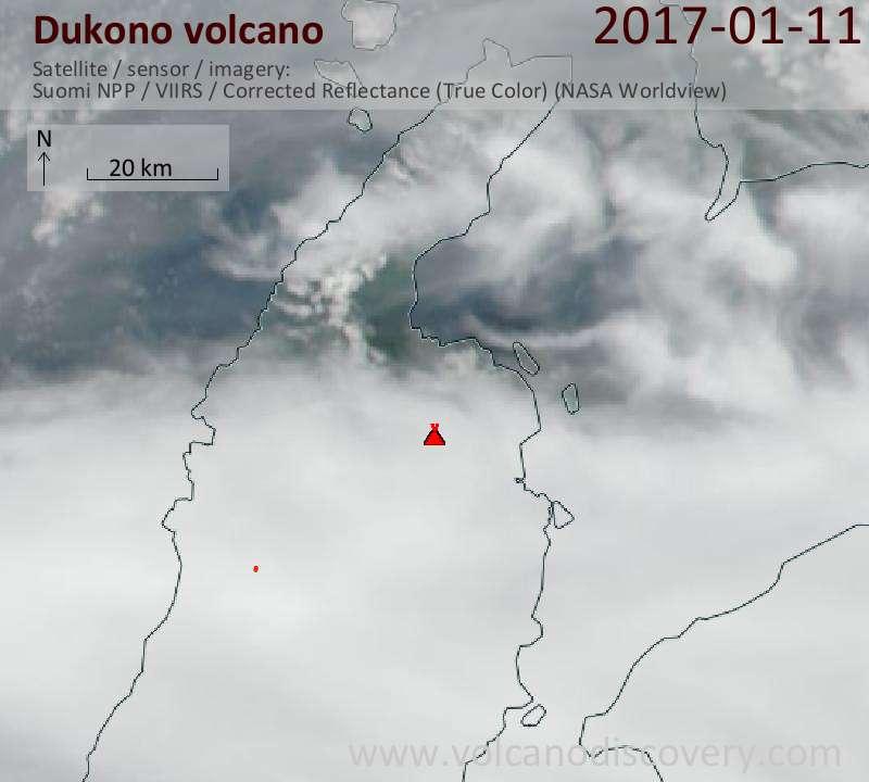 Satellite image of Dukono volcano on 11 Jan 2017