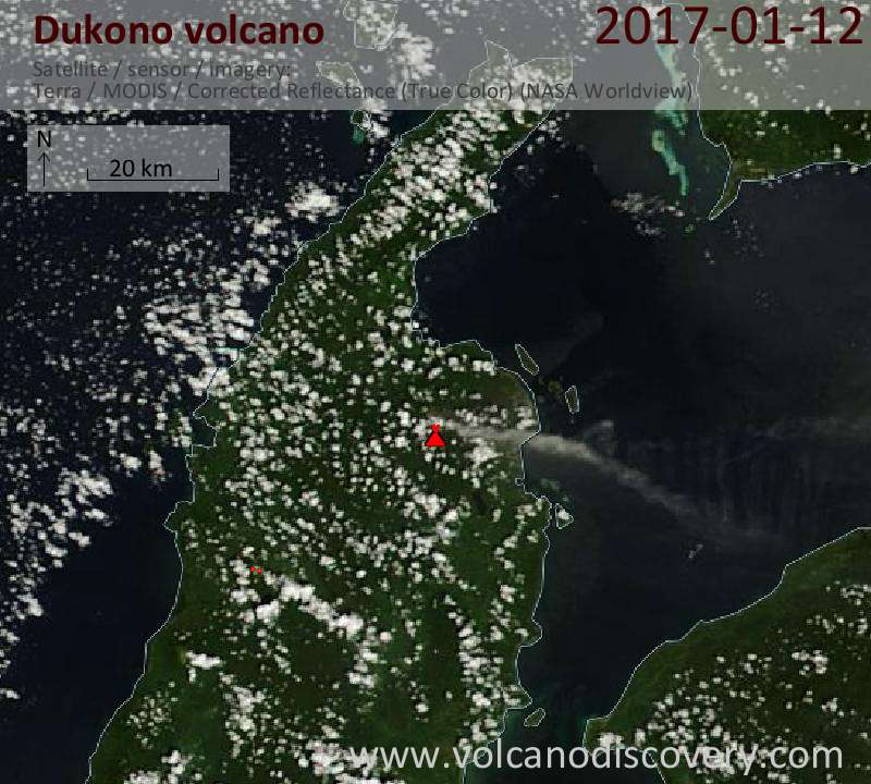 Satellite image of Dukono volcano on 12 Jan 2017