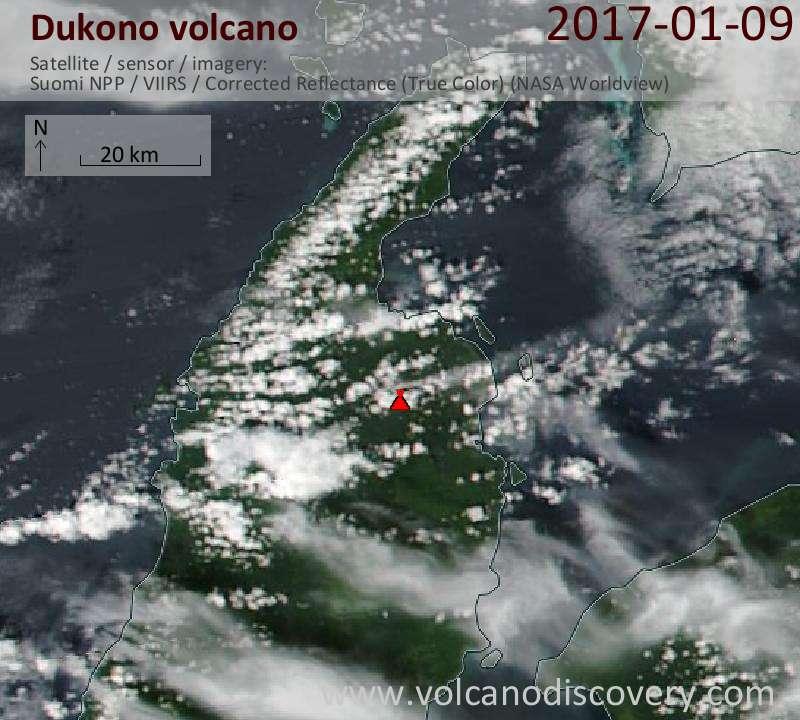 Satellite image of Dukono volcano on  9 Jan 2017