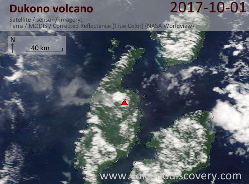 Satellite image of Dukono volcano on  1 Oct 2017