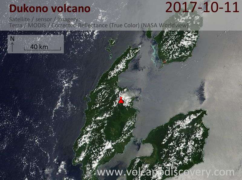 Satellite image of Dukono volcano on 11 Oct 2017