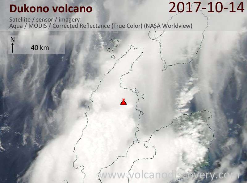 Satellite image of Dukono volcano on 14 Oct 2017