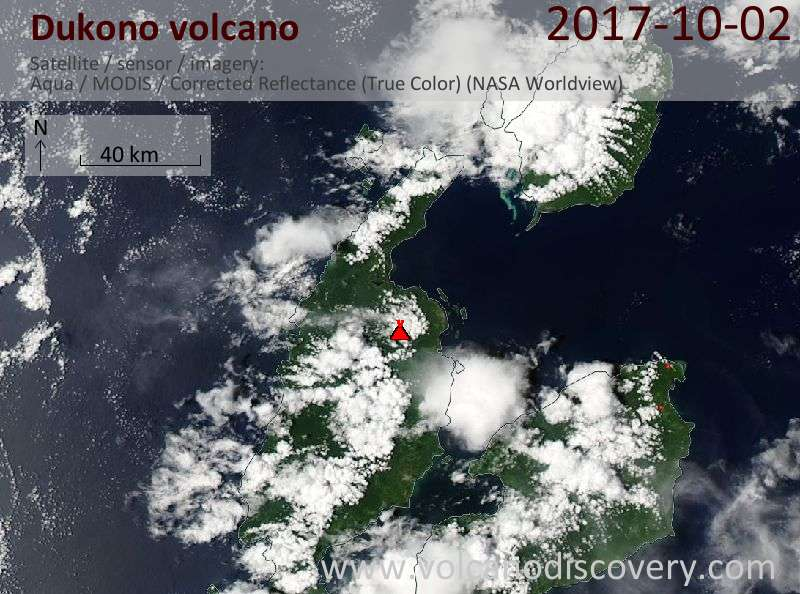 Satellite image of Dukono volcano on  2 Oct 2017