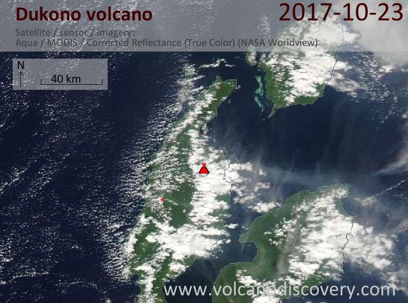 Satellite image of Dukono volcano on 23 Oct 2017