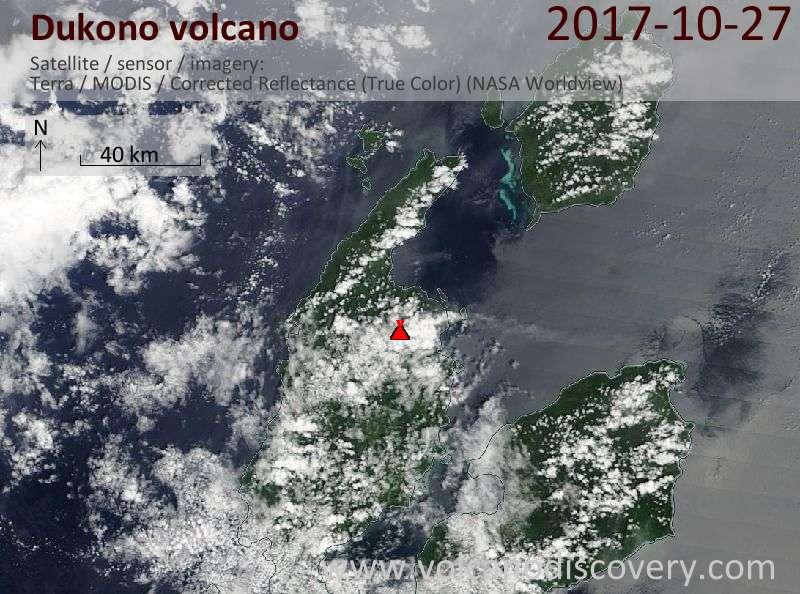 Satellite image of Dukono volcano on 27 Oct 2017