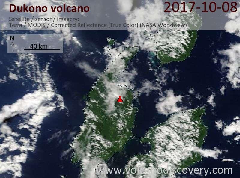 Satellite image of Dukono volcano on  8 Oct 2017