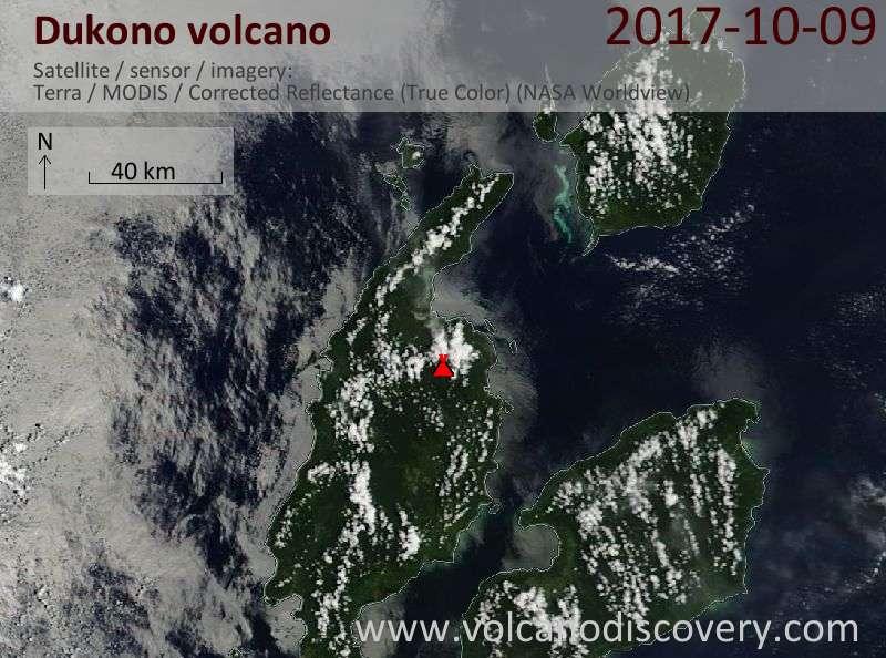 Satellite image of Dukono volcano on  9 Oct 2017