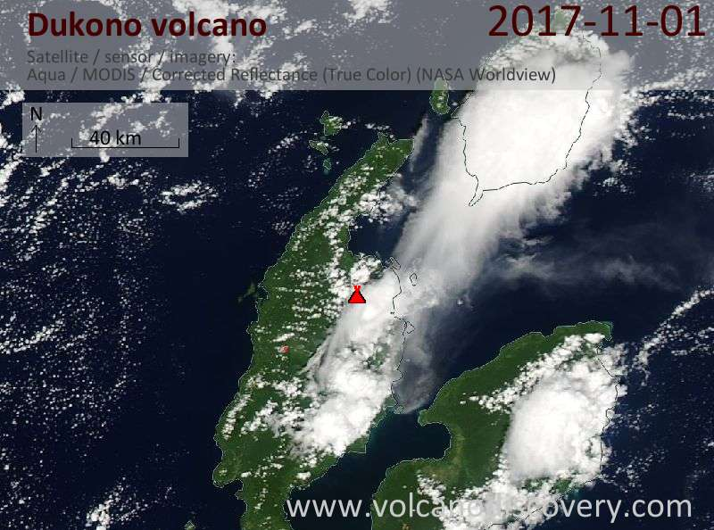 Satellite image of Dukono volcano on  1 Nov 2017