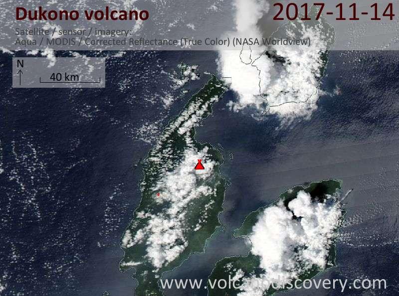 Satellite image of Dukono volcano on 14 Nov 2017