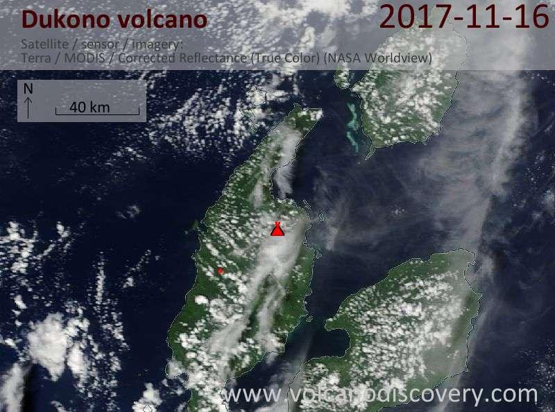 Satellite image of Dukono volcano on 16 Nov 2017