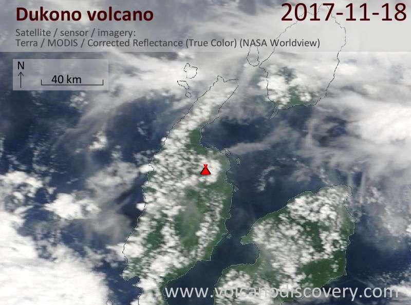 Satellite image of Dukono volcano on 18 Nov 2017
