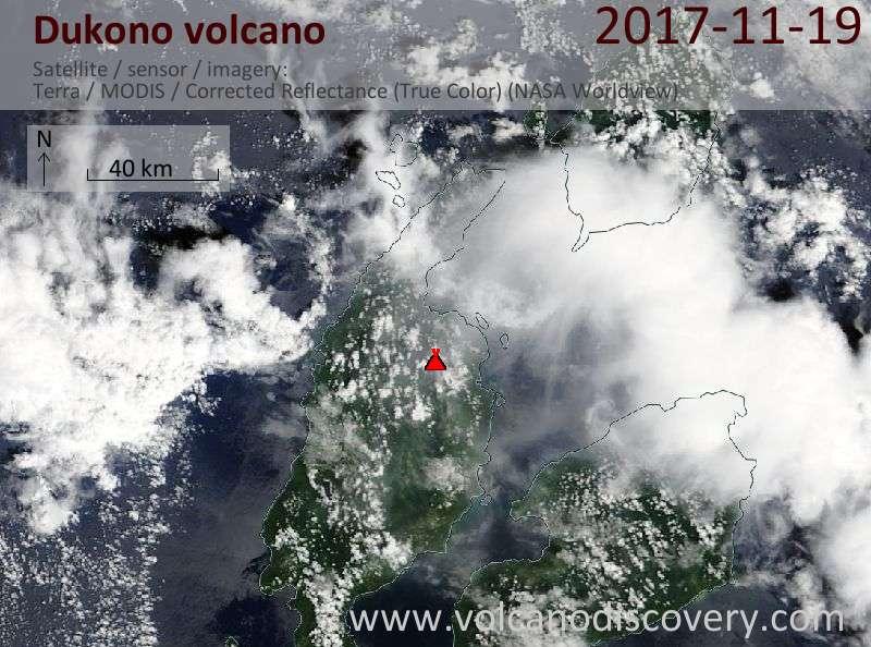 Satellite image of Dukono volcano on 19 Nov 2017