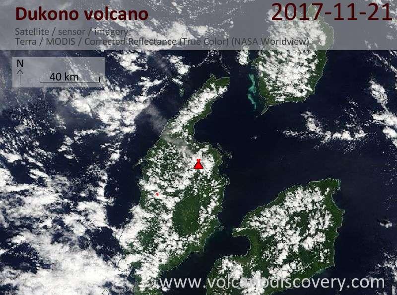 Satellite image of Dukono volcano on 21 Nov 2017