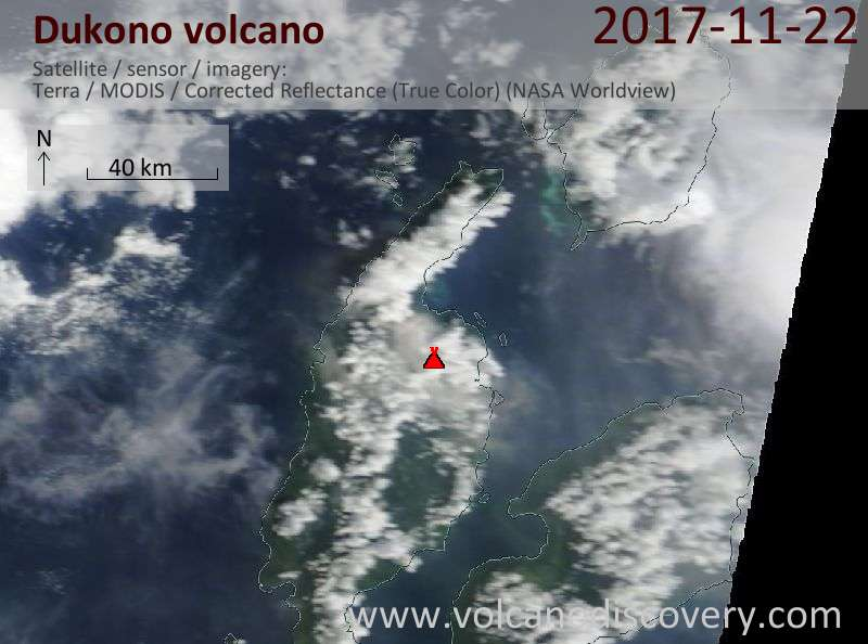Satellite image of Dukono volcano on 22 Nov 2017