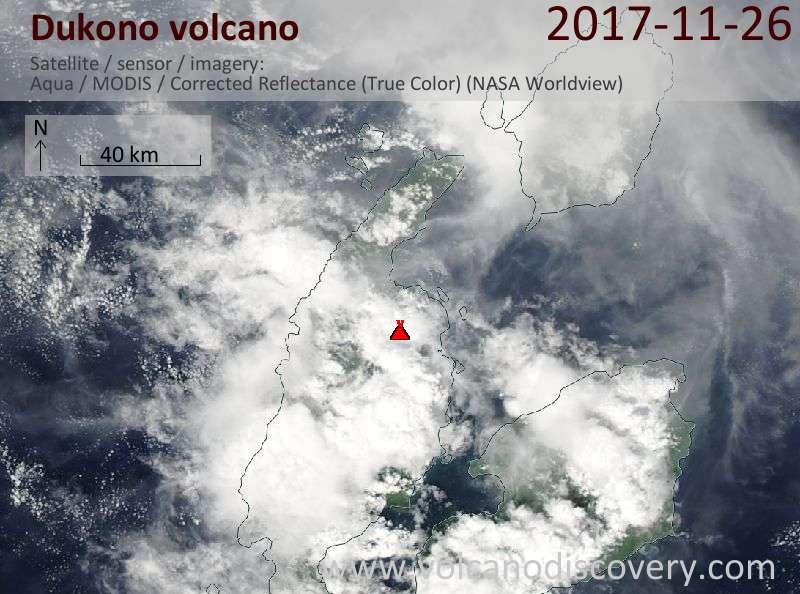 Satellite image of Dukono volcano on 26 Nov 2017