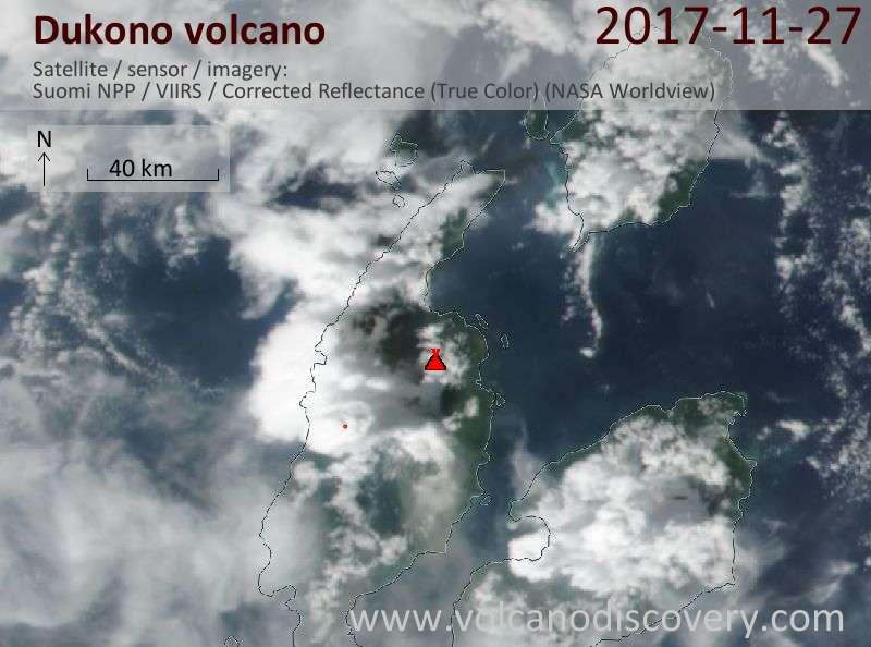 Satellite image of Dukono volcano on 27 Nov 2017