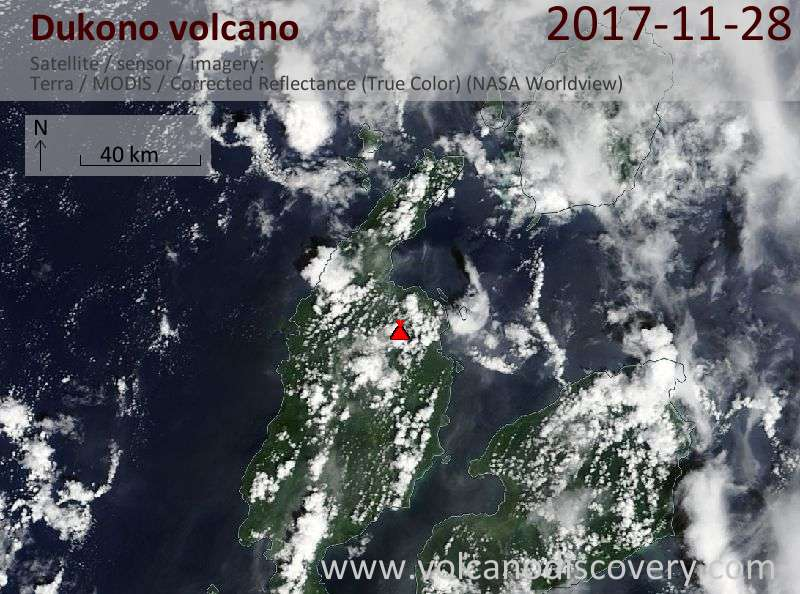 Satellite image of Dukono volcano on 28 Nov 2017
