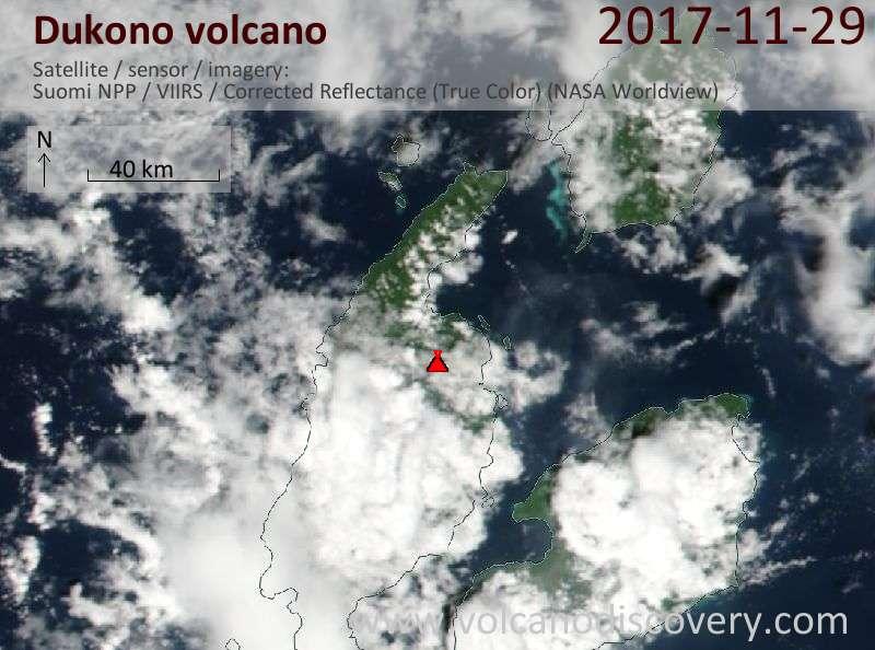 Satellite image of Dukono volcano on 29 Nov 2017