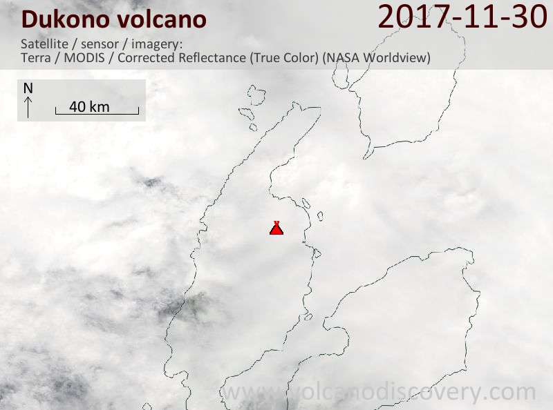 Satellite image of Dukono volcano on 30 Nov 2017
