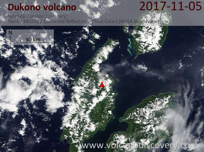 Satellite image of Dukono volcano on  5 Nov 2017