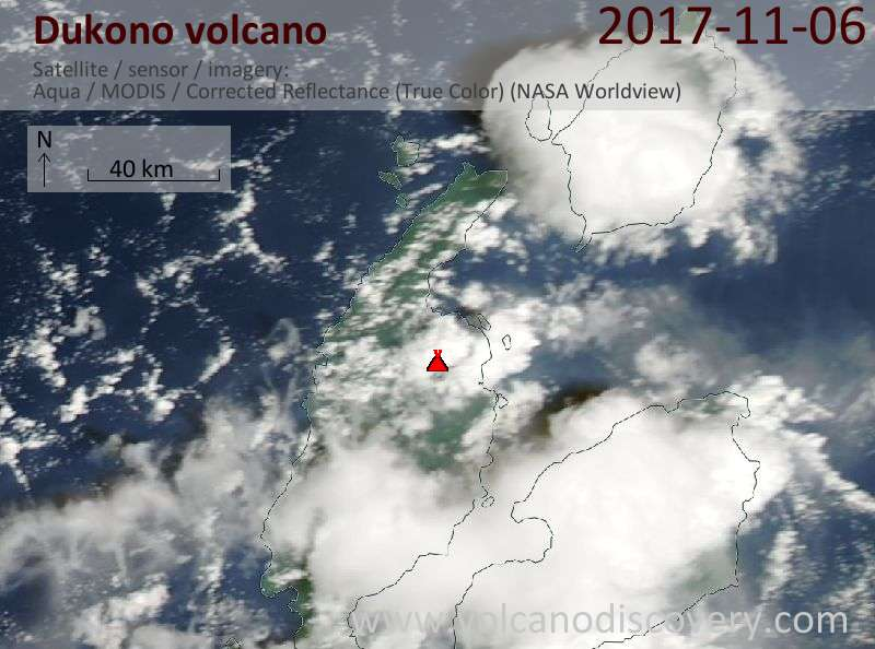 Satellite image of Dukono volcano on  6 Nov 2017