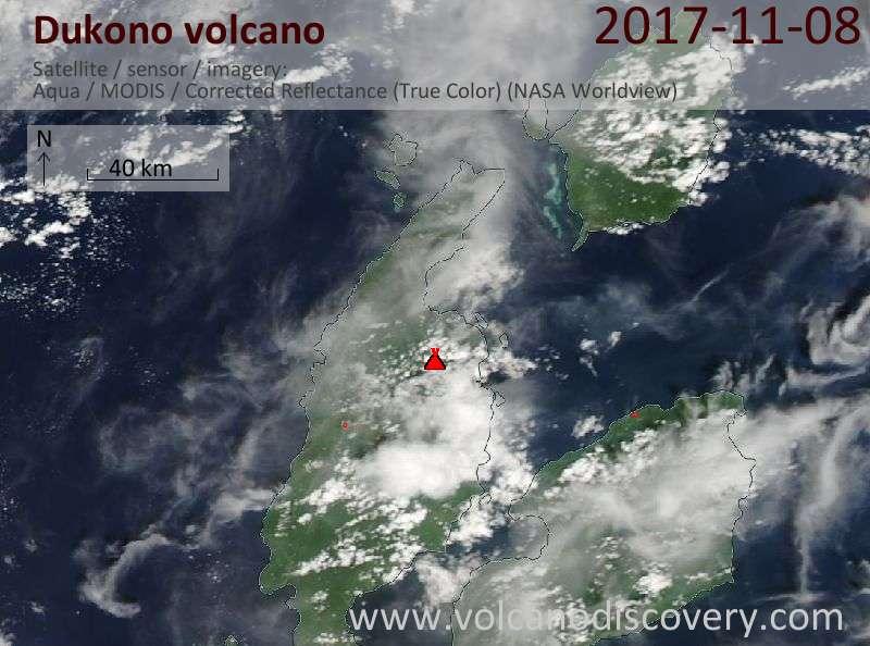 Satellite image of Dukono volcano on  8 Nov 2017