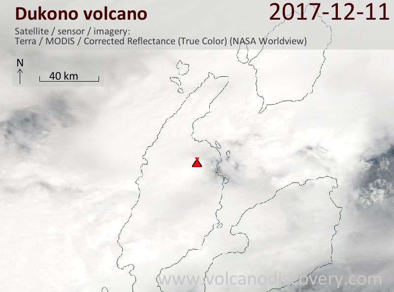 Satellite image of Dukono volcano on 11 Dec 2017