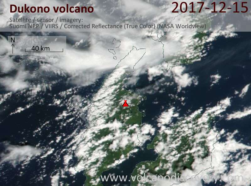 Satellite image of Dukono volcano on 15 Dec 2017