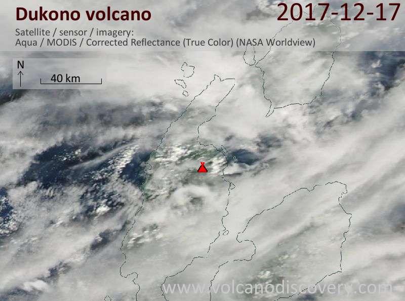 Satellite image of Dukono volcano on 17 Dec 2017