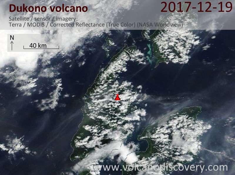 Satellite image of Dukono volcano on 19 Dec 2017