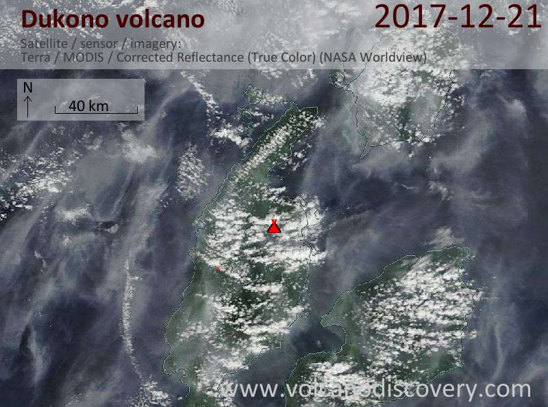 Satellite image of Dukono volcano on 21 Dec 2017