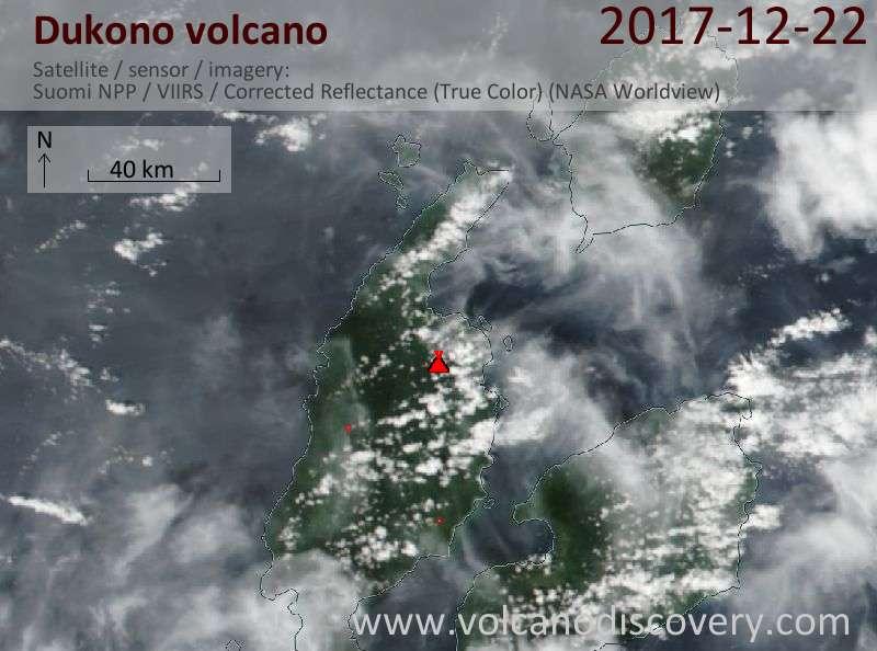 Satellite image of Dukono volcano on 22 Dec 2017
