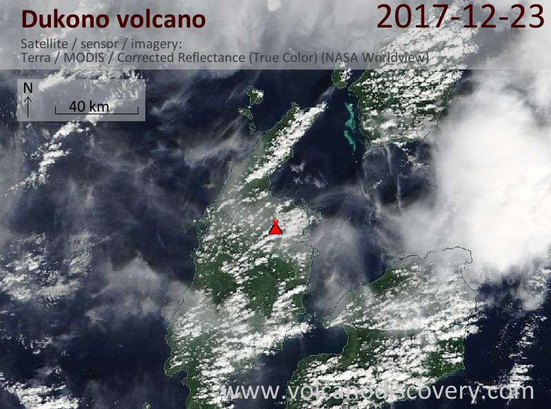 Satellite image of Dukono volcano on 23 Dec 2017