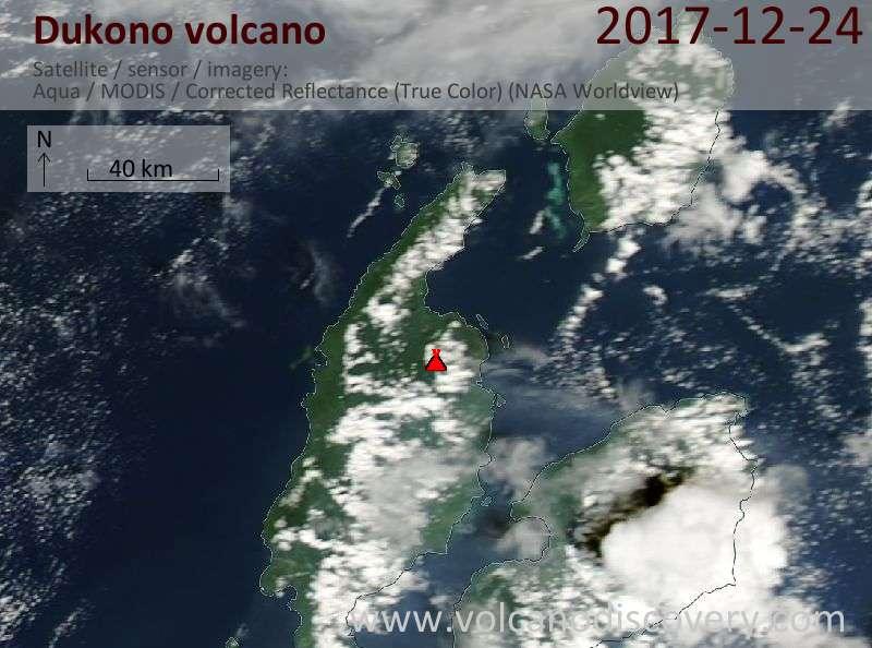 Satellite image of Dukono volcano on 24 Dec 2017