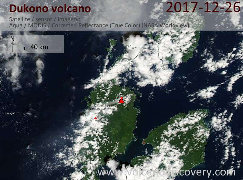 Satellite image of Dukono volcano on 26 Dec 2017