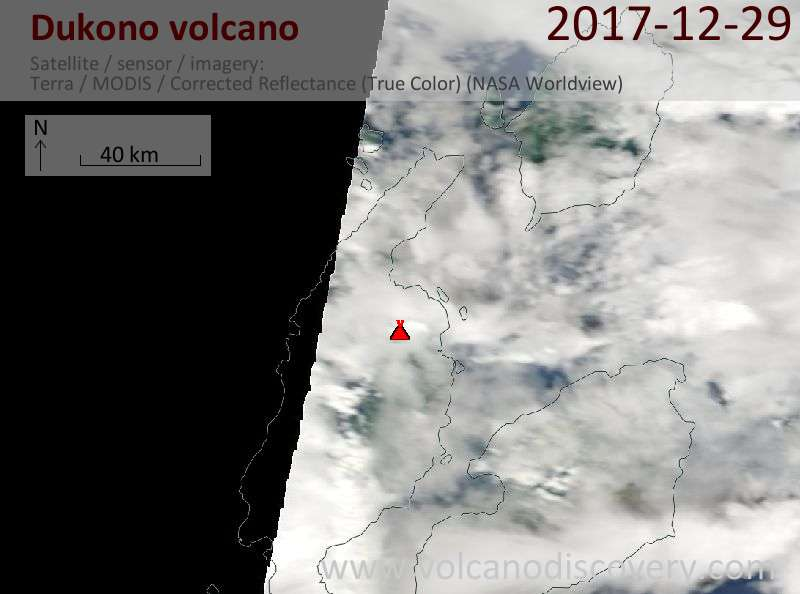 Satellite image of Dukono volcano on 29 Dec 2017