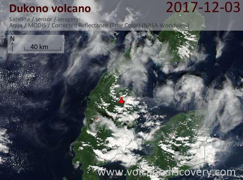 Satellite image of Dukono volcano on  3 Dec 2017