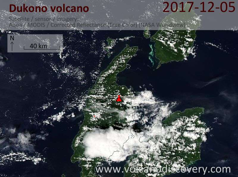 Satellite image of Dukono volcano on  5 Dec 2017