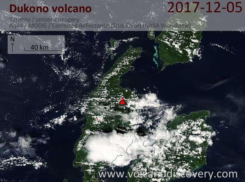 Satellite image of Dukono volcano on  5 Dec 2017