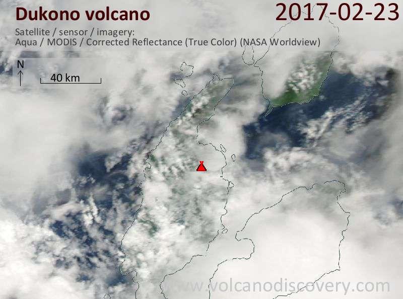 Satellite image of Dukono volcano on 23 Feb 2017
