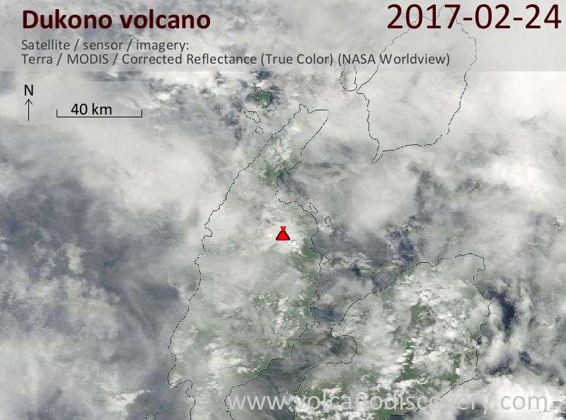 Satellite image of Dukono volcano on 24 Feb 2017
