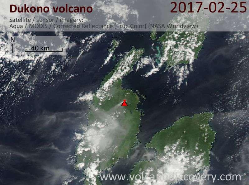 Satellite image of Dukono volcano on 25 Feb 2017