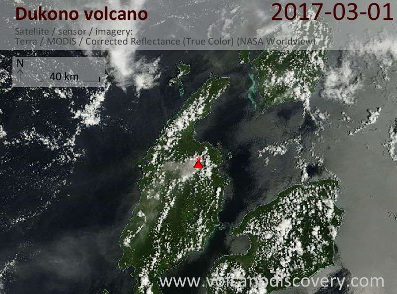 Satellite image of Dukono volcano on  1 Mar 2017