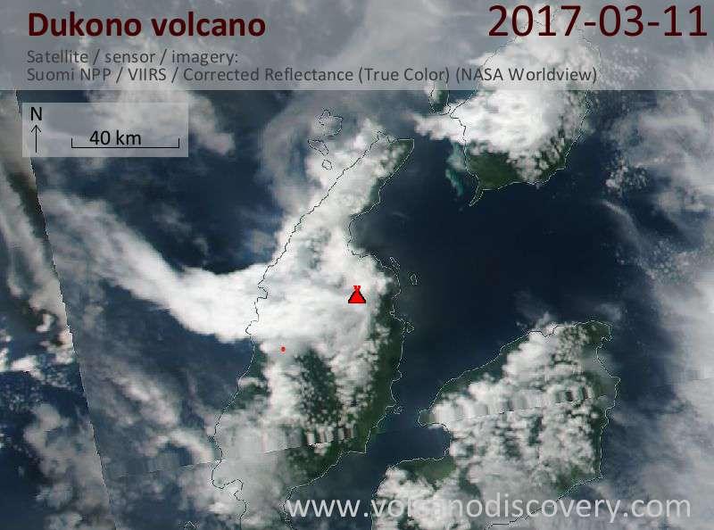 Satellite image of Dukono volcano on 11 Mar 2017