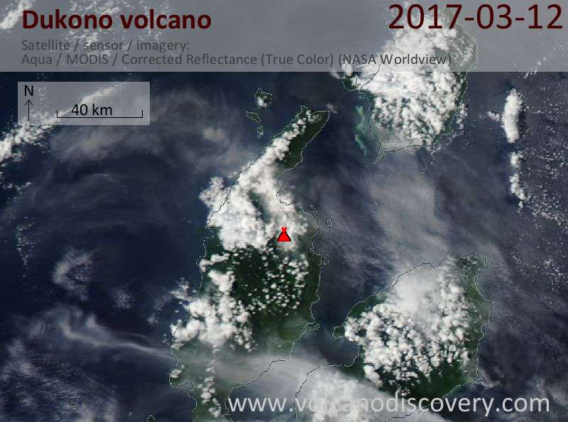 Satellite image of Dukono volcano on 13 Mar 2017