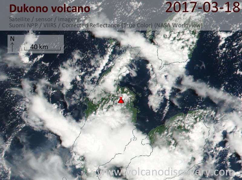 Satellite image of Dukono volcano on 18 Mar 2017