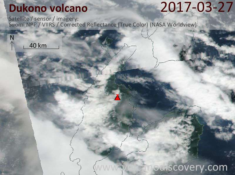 Satellite image of Dukono volcano on 27 Mar 2017