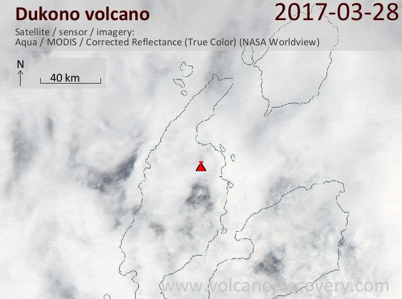 Satellite image of Dukono volcano on 28 Mar 2017