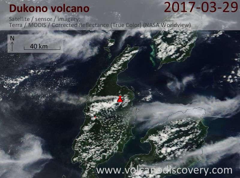Satellite image of Dukono volcano on 29 Mar 2017